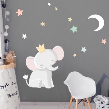 Sticker décoratif - Éléphant avec couronne - Lune blanche