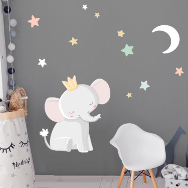 Vinils per a nadons - Elefant amb corona - Lluna blanca