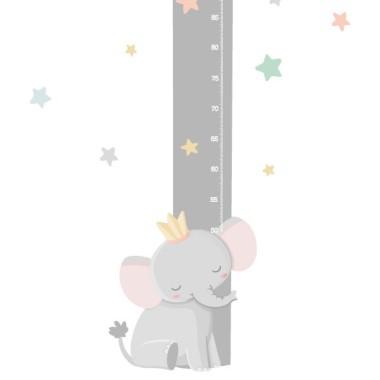 Medidor Elefante con corona - Vinilo infantil de pared Medidores Vinilo medidor con un pequeño rey elefante. Vinilos decorativos aptos para paredes, muebles o superficies lisas.  Medidasdel vinilo Tamaño de la lámina: 20x135 cm Tamaño del montaje: 60x135 cm ¡Incluye 16 etiquetas para marcar lo que quieras!  vinilos infantiles y bebé Starstick