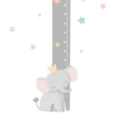 Mesurador Elefant amb corona - Vinil infantil per a nenes i nens