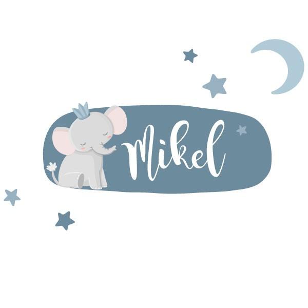Éléphant avec couronne - Sticker nom de porte Stickers porte chambre Taillede la feuille/montage 1 prénom: 26x12cm 2 prénoms:26x16cm  vinilos infantiles y bebé Starstick