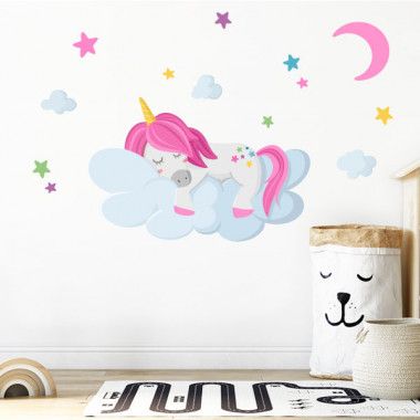Vinils per a nenes i nens - Unicorn dormint en els núvols