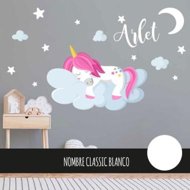 Vinilos para niñas y niños – Unicornio durmiendo en las nubes