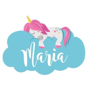 Unicorn dormint en els núvols - Nom per portes. Vinil infantil