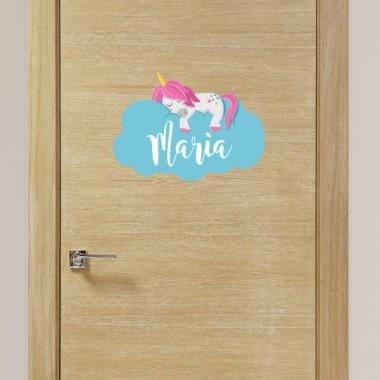 Licorne dans les nuages - Sticker nom de porte