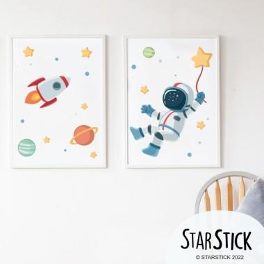 Lot de 2 affiche chambre enfant - Astronaute, mission spatiale
