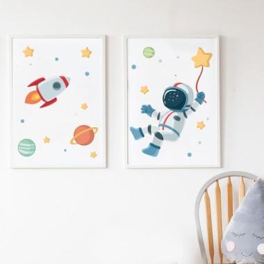 Pack de 2 làmines decoratives - Astronauta, missió espacial