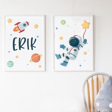 Pack de 2 láminas decorativas - Astronauta, misión espacial