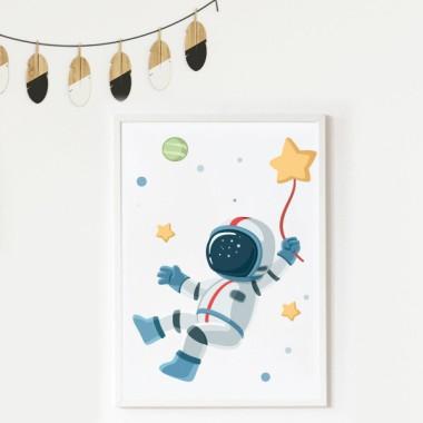 Lámina decorativa infantil - Astronauta, misión espacial