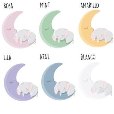 Pack de 2 láminas decorativas - Elefante en la luna Láminas y cuadros infantiles Si quieres decorar la habitación de tu bebé de manera elegante, fácil y rápida, te proponemos éste precioso pack de láminas con un bebé elefante durmiendo en la luna. Láminas de diseño totalmente personalizables. Se puede seleccionar tamaño, color y opción de imprimir o no el nombre del bebé.  Medidas (ancho x alto) A4 - 210 x 297 mm A3 - 297 x 420 mm A2 - 420 x 594 mm  Material: Impresión sobre canvas Marco: Opcional vinilos infantiles y bebé Starstick