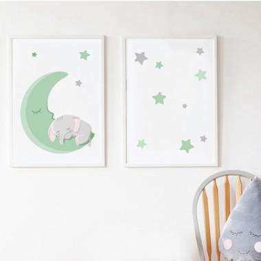 Lot de 2 affiche chambre enfant - Éléphant sur la lune