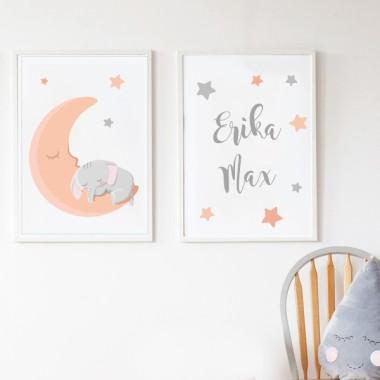 Lot de 2 affiche chambre enfant - Éléphant sur la lune Affiche chambre enfant Dimensions (largeur x hauteur) A4 - 210 x 297 mm A3 - 297 x 420 mm A2 - 420 x 594 mm  Matériel: Impression sur toile Cadre: Optionnel   vinilos infantiles y bebé Starstick