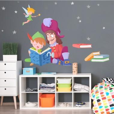 Peter Pan et capitaine crocheten lisant - Stickers muraux enfants