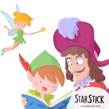 Peter Pan i Garfio llegint - Vinils per escoles i biblioteques - Vinils infantils de paret Vinils educatius / escoles Peter Pan, Garfio i la coqueta campaneta s'uneixen per llegir un conte. Un vinil fabulós per donar el toc final al teu espai de lectura. Tria la mida del vinil, combina amb altres vinils de frases o contes tradicions i deixa't portar cap a un món ple de màgia. Mides aproximades del vinil enganxat (ample x alt) Bàsic: 75x40 cm Petit:110x65 cm  Mitjà:150x75 cm  Gran: 210x100 cm Gegant:290x150 cm  AFEGEIX UN NOM PER EL VINIL DE 9,99€   vinilos infantiles y bebé Starstick
