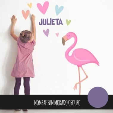 Flamenc rosa amb cors - Vinil decoratiu infantil