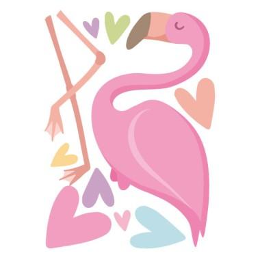 Flamenc rosa amb cors - Vinil decoratiu infantil Vinils infantils nenes  Sensacional vinil decoratiu amb un flamenc rosa i cors de colors. Idees decoratives que converteixen les habitacions infantils en espais plens de vida i alegria. Combina aquest flamenc amb el nom dels teus fills i amb les garlandes de llum a joc, i aconseguiràs una decoració espectacular.  Mides aproximades del vinil enganxat (ample x alt) Bàsic:68x80cm Petit:100x120 cm Mitjà:125x155 cm Gran:178x229 cm Gegant:220x275 cm  AFEGEIX UN NOMALVINIL DESDE 9,99€   vinilos infantiles y bebé Starstick