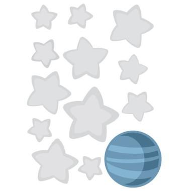 Pack supplémentaire - PETIT PRINCE Packs supplémentaires Paquet supplémentaire de 12 étoiles entre3 et 8 cm de large et une planète 8x8 cm Taille de lame:25x25 cm   vinilos infantiles y bebé Starstick
