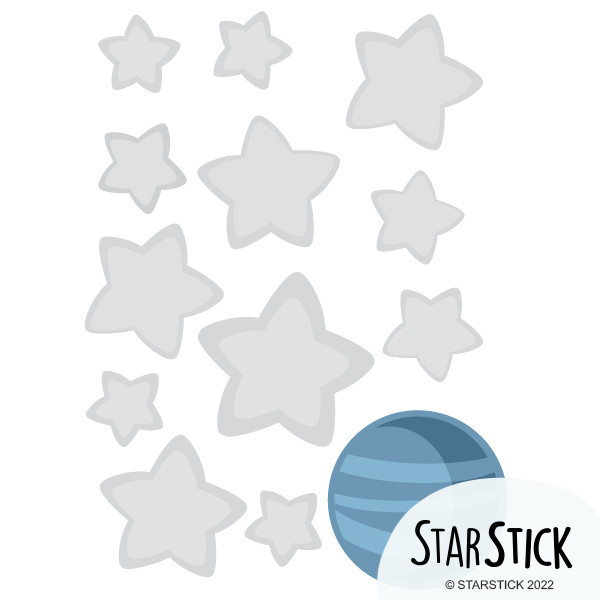Extra Pack - Estrellas Pequeño príncipe Extra Packs Extrapack de 12 estrellas de entre3 y 8 cm de ancho y un planeta 8x8 cm Tamaño de la lámina:25x25 cm vinilos infantiles y bebé Starstick