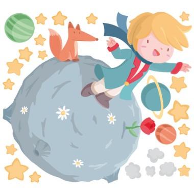 """Vinilo infantil para bebé - Pequeño príncipe Vinilos infantiles Bebé Vinilo infantil con el Pequeño príncipe en su planeta. Vinilo decorativo ideal para llenar de ternura y felicidad las habitaciones de los niños y bebés. """"Todas las personas mayores fueron al principio niños. (Aunque pocas de ellas lo recuerdan.)"""" Haz que tu pequeño nunca se olvide de su infancia con éste bonito vinilo infantil del pequeño príncipe.  Medidas aproximadas del vinilo infantil montado (ancho x alto) Básico: 70x45cm Pequeño:100x85cm Mediano:130x100 cm Grande:170x125 cm Gigante:250x170 cm  AÑADE UN NOMBRE AL VINILO DESDE 9,99€ vinilos infantiles y bebé Starstick"""