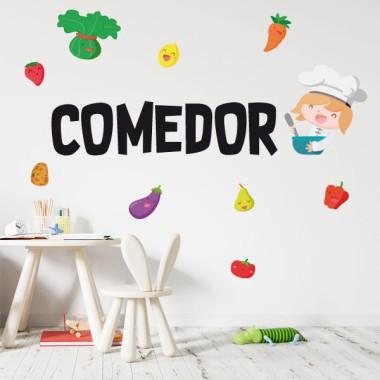 Menjador amb cuinera - Vinils per a col·legis i escoles Vinils educatius / escoles Decora les parets o portes del menjador escolar amb els divertits vinils infantils de StarStick. Vinils de disseny que us ajudaran a convertir el menjador en un espai còmode i alegre. Es pot triar el color i idioma de les lletres. Mides aproximades del vinil enganxat (ample x alt) Bàsic:75x45 cm Petit:125x90 cm Mitjà:150x100 cm Gran:200x145 cm Gegant:250x200 cm  vinilos infantiles y bebé Starstick