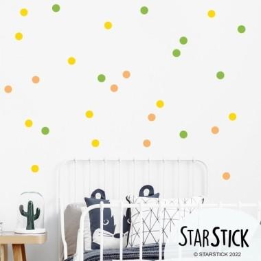 Vinil confeti. 2 Colors per escollir - Vinils decoratius Inici Vinil decoratiu amb lunars color a escollir. 30 rodones amb els 2colors per escollir. Perfecte per decorar parets o mobles.Mesures del vinil 30 rodones de 5 cm de diàmetre cada una  vinilos infantiles y bebé Starstick