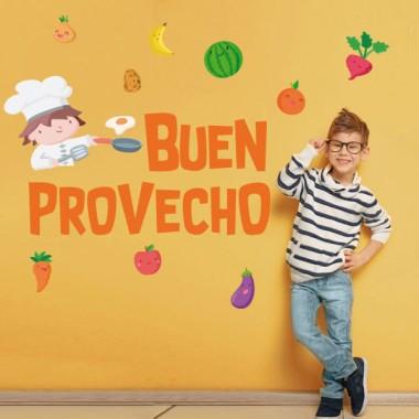 Bon profit - Vinils per a col·legis i escoles Vinils educatius / escoles Decora les parets o portes del menjador escolar amb els divertits vinils infantils de StarStick. Vinils de disseny que us ajudaran a convertir el menjador en un espai còmode i alegre. Es pot triar el color i idioma de les lletres. Mides aproximades del vinil enganxat (ample x alt) Bàsic:75x45 cm Petit:125x90 cm Mitjà:150x100 cm Gran:200x145 cm Gegant:250x200 cm  vinilos infantiles y bebé Starstick