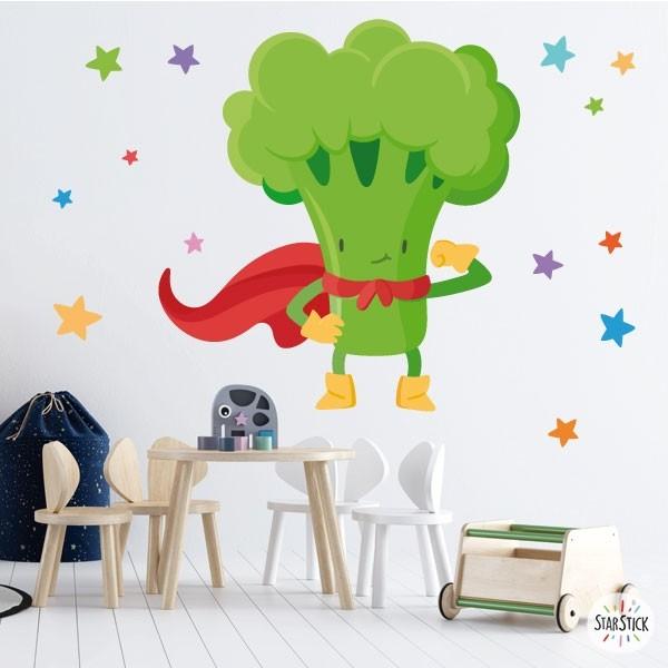 Súper brócoli - Vinilos de pared para colegios y escuelas Vinyle éducatif / écoles Convierte tu comedor en un divertido espacio con los vinilos decorativos de StarStick. Vinilos de pared que os permitirán redecorar vuestrasaulas de manera fácil y rápida. Haz tu propia combinación de vinilos y verás que consigues un comedor sin igual.  Medidas aproximadas del vinilo montado (ancho x alto) Básico: 70x40cm Pequeño:100x73 cm  Mediano:120x90 cm  Grande: 200x120 cm Gigante:250x150 cm vinilos infantiles y bebé Starstick