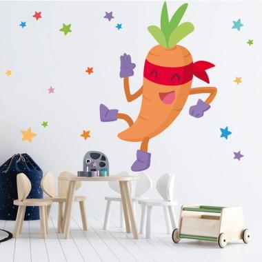 Súper zanahoria - Vinilos de pared para colegios y escuelas