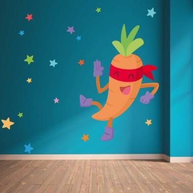 Súper pastanaga - Vinils de paret per a col·legis i escoles Vinils educatius / escoles Converteix el teu menjador en un divertit espai gràcies als vinils decoratius de StarStick. Vinils de paret que us permetran redecorar les vostres aules de manera fàcil i ràpida. Fes la teva combinació de vinils i veuràs que aconsegueixes un menjador fantàstic. Mides aproximades del vinil enganxat (ample x alt) Bàsic:70x40cm Petit:100x73 cm Mitjà:120x90 cm Grand:200x130 cm Gegant:250x160 cm  vinilos infantiles y bebé Starstick