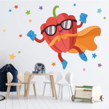 Súper pimiento - Vinilos de pared para colegios y escuelas