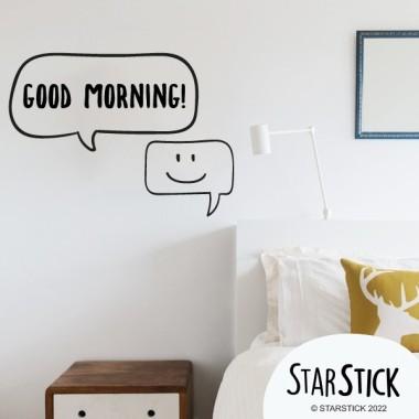 Bonjour - Stickers décoratifs phrases et citations Stickers phrase Dimensions approximatives (largeur x hauteur) Basique:30x20 cm Petit:40x30 cm Moyen: 50x43 cm vinilos infantiles y bebé Starstick