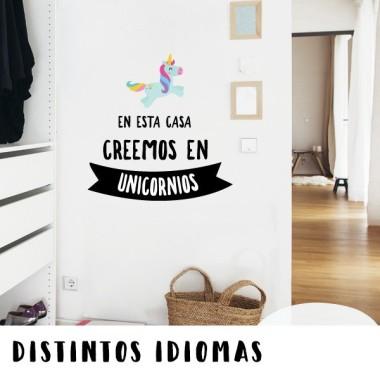 En esta casa creemos en unicornios - Stickers décoratifs phrases et citations