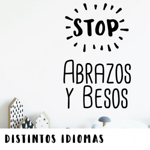 Stop. Hugs and kisses - Stickers décoratifs phrases et citations