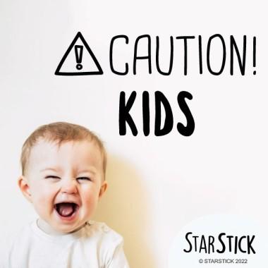 Alerte! Les enfants - Stickers décoratifs phrases et citations Stickers phrase Dimensions approximatives (largeur x hauteur) Petit: 35x12 cm Moyen: 45x16 cm Grand: 60x21 cm     vinilos infantiles y bebé Starstick