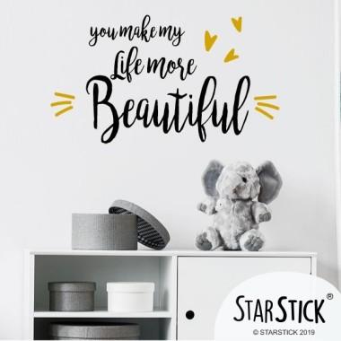 Tú haces mi vida más bonita - Vinilos infantiles con frases personalizadas