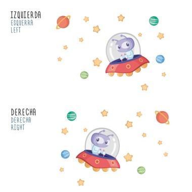 Extraterrestre - Sticker décoratif pour garçons et filles Stickers Garçons Mesures approximatives du vinyle monté (largeur x hauteur) Basique75x45 cm Petit:125x70cm Moyen:160x75 cm Grand:210x140 cm Géant:300x175 cm vinilos infantiles y bebé Starstick