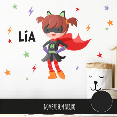 Superheroína de capa roja - Vinilo decorativo para niñas valientes
