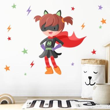 Superheroïna de capa vermella - Vinil decoratiu per a nenes valentes