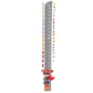 Superheroine - Sticker toise Toises Les Tailles Taille de la feuille:20x135 cm Taille du montage:50x135 cm  Comprend 16 étiquettes pour marquer ce que vous voulez! vinilos infantiles y bebé Starstick