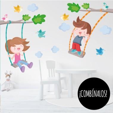 Arbre avec balançoire. Enfant - Stickers muraux enfants et bébés
