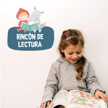 Caputxeta i el llop llegint - Cartell de senyalització. vinil infantil