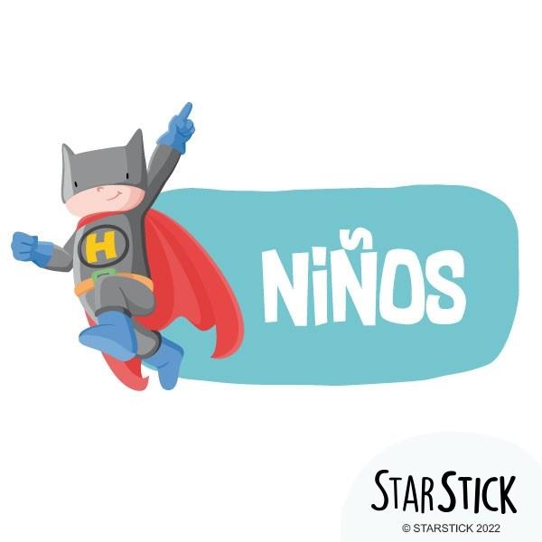 Superhero Batboy - Affiche de signalisation Signalisation Taillede la feuille/montage Petit:20x20cm Grand:30x30cm  vinilos infantiles y bebé Starstick