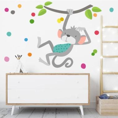 El mico saltador - Vinil decoratiu per a nadó