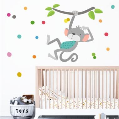 Le singe qui saute - Sticker mural bébé