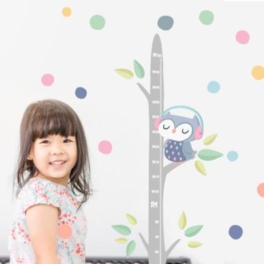 Sticker toise - Hibou avec confettis