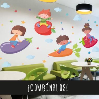 Nena amb albergínia - Vinils de paret per a col·legis i escoles Vinils educatius / escoles Fantàstics vinils infantils de paret pensats especialment per decorar menjadors i cuines escolars. Vinils d'alta qualitat i fàcil col·locació, amb els quals aconseguireu que els vostres menjadors es converteixin en zones divertides i agradables. Existeixen diferents models que podeu combinar al vostre gust depenent de l'espai que tingueu. Les estrelles poden ser de colors o triar dos colors concrets per combinar. Mides aproximades del vinil enganxat (ample x alt) Bàsic:70x40cm Petit:100x70 cm Mitjà:120x90 cm Gran:200x120 cm Gegant:250x150 cm  vinilos infantiles y bebé Starstick