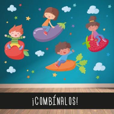Fille aux fraise - Stickers muraux pour écoles Vinyle éducatif / écoles Les étoiles peuvent être colorées ou choisir deux couleurs spécifiques à combiner. Mesures approximatives du vinyle monté (largeur x hauteur) Basique:70x40cm Petit:100x70 cm Moyen:120x90 cm Grand:200x120 cm Géant:250x150 cm vinilos infantiles y bebé Starstick