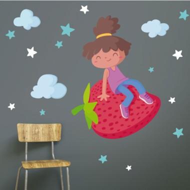 Niña con una fresa - Vinilos de pared para colegios y escuelas