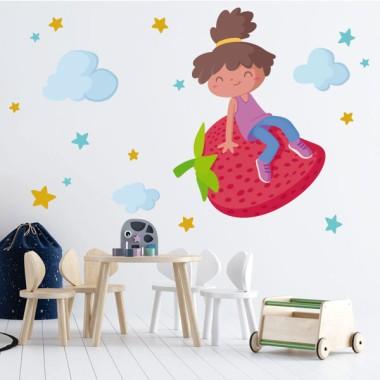 Fille aux fraise - Stickers muraux pour écoles