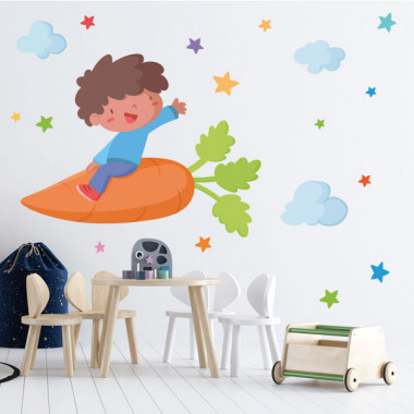 Nen amb una pastanaga - Vinils de paret per a col·legis i escoles